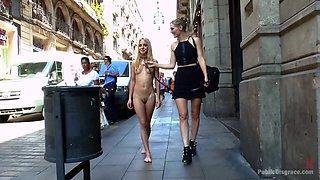 Whorish blonde Mona Wales gets her muff punished in public place