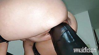 Huge dildo fucking amateur MILF Sarah
