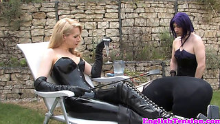 Smoking bdsm mistress dominates sissyfication