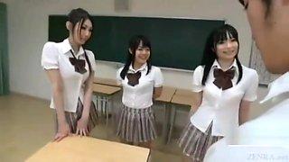 Asian Schoolgirls panty rub on school desk