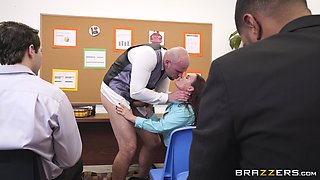 Sexy upskirt with Diamond Foxxx and pussy ruining on a desk