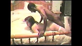 Brunette white bride with black lover Interracial Vintage