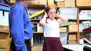 Skinny redhead shoplifter chick punish fucked hard