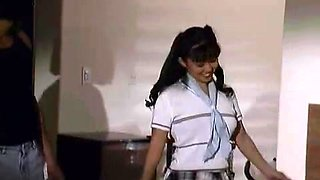 cute oriental schoolgirl doubled drilled by movers!!