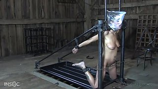 tied up kali kane gets choked with plastic bag and mouth fucked