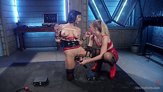 Lecherous porn model Beretta James is punished by electro slut
