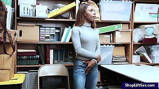 Tattooed ebony thief Sarah Banks gets nailed in LP office