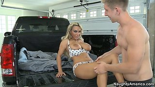 holly halston seducing young guy by showing him her enormous tits