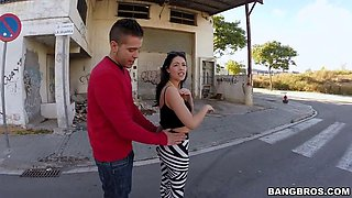 ava dalush shows off her hairy pussy in public