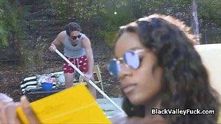 black bikini babe blows big dick