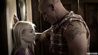 Petite blond step daughter Piper Perri is fucked by well endowed young step daddy