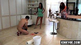 Brunette slave slave training with cumshot