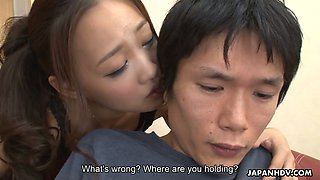 Asian chick Koi Miyamura swallows small dick and enjoys eating sperm
