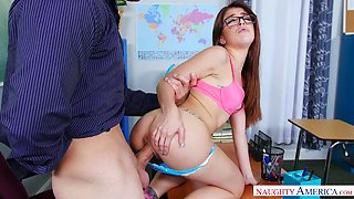 Sexy college girl in glasses Sally Squirt gets nailed well
