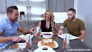 Amazing kitchen threesome with insatiable blonde Phoenix Marie
