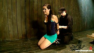 Playing with Brunette Sex Slave while Blonde Stares from Her Cage