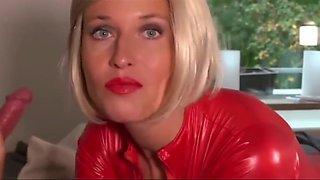 Blonde slut ass fucked in red latex cat suit
