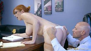 Nasty business woman Lauren Phillips bends over a desk for sex