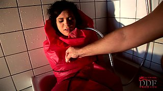 Brunette Miho Lechter is getting her body wet