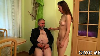 Big titted dilettante gets licked by old man and rides him
