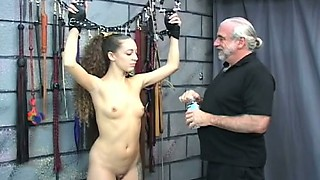 Sweet gal Nicole is punished by kinky old master