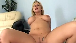Blonde MILF Velicity Von gets her face filled with jizz by two guys