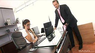 Palatable Czech secretary Valentina Rossini is fucked right on the boss's table