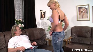 Nerdy blonde in glasses gets intimate with her perverted step daddy