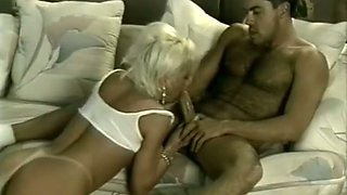 Big and sexy guy feeds bodacious blondie with his big meaty prick