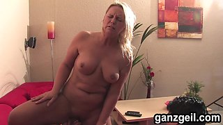 GanzGeil.com Excited bisexual german milf fucks a lucky guy