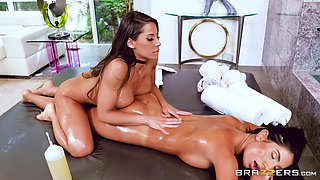 Oiled lesbian juicy pussy licked seductively while she moans