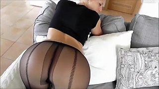 German Whore Sucks Dick With Pantyhose on