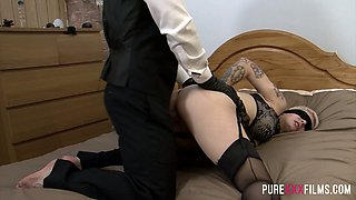 A kinky looking tied up whore gets her bald pussy fucked doggy hard