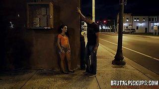 18YO peach teen gets wild sex in dark alley at brutal