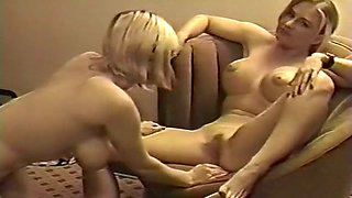 Hot and appetizing busty blondies having softcore lesbian action