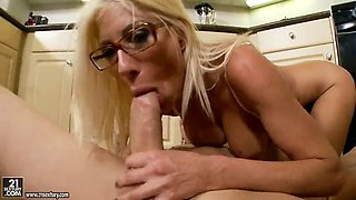 Bespectacled housewife Puma Swede with big tits takes plumber's big cock