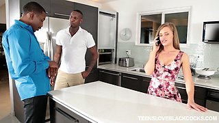 Two black dudes fuck sweet looking housewife April Brooks