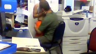 Horny boss humping his employee in the office