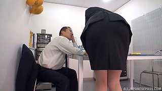 Asian office sex under the desk with his curvy secretary