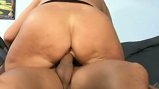Marvelous fat booty of a blonde granny pounded with a huge dick