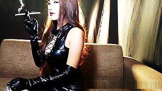 Stunning Mia Smoking in Latex