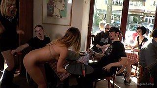 Slender nude chick Lullu Gun gets her pussy punished in public
