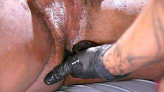 asian mistress humiliates & punishes submissive black guy
