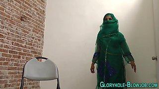 Arab slut sucks gloryhole