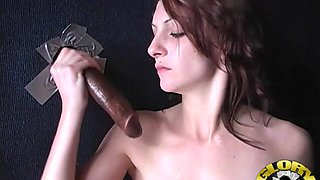 Brunette babe fingers her juicy pussy while she sucks a black dick