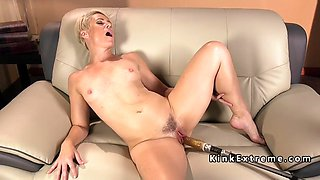solo blonde mature lady fucks machine