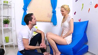 Dude assists with hymen physical and poking of virgin nympho