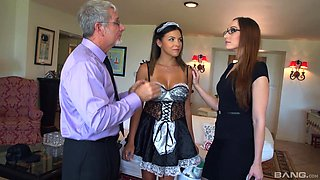 Playing the house wife and  a maid is fun for Danica Dillan and Crystal Clark