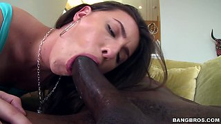 Casey Calvert has her pussy and face slammed by a black dong