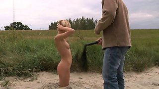 Slave girl is walked in leash and hard fucked